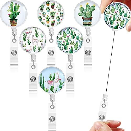 6 Carretes de Insignias Retráctil Soporte de Tarjeta Identificación de Enfermería Carrete de Placa de Identificación Etiqueta de Nombre de Trabajo con Pinza Cocodrilo (Estilo de Cactus)