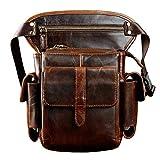 Le'aokuu Mens Genuine Leather Cycling Waist Fanny Pack Drop Leg Thigh Messenger Bag (Brown)