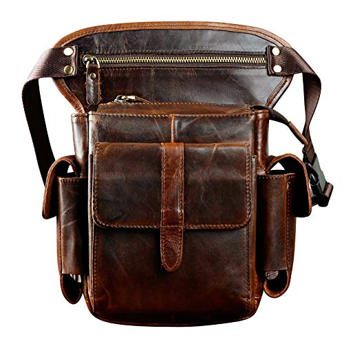 Le'aokuu Mens Genuine Leather Cycling Waist Fanny Pack Drop Leg Thigh Messenger Bag (Brown)