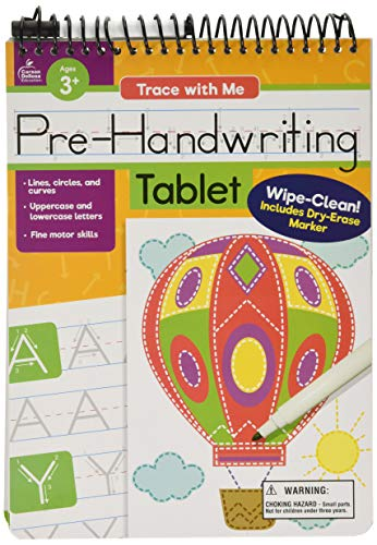 Trace with Me: Pre-Handwriting Tablet, Ages 3–7, 32 Pages, Wipe-Clean Writing Practice with Dry-Erase Pen