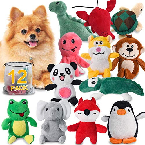 Squeaky Dog Toys for Puppy Small Medium Dogs, Stuffed Samll Dog Toys Bulk with 12 Plush Pet Dog Toy Set, Cute Safe Dog Chew Toys Pack for Puppies Teething