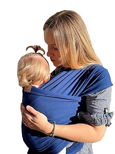 SOVERDE® Tragetuch - Babytragetuch für jede Größe I DUNKELBLAU I Inkl. Deutsche Videoanleitung I Baby Erstausstattung