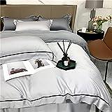 Cactuso Cotton Sheets King Size-Seda de Cuatro Piezas Seda de Seda de Seda de Verano Simple Ropa de Cama-Gris Claro
