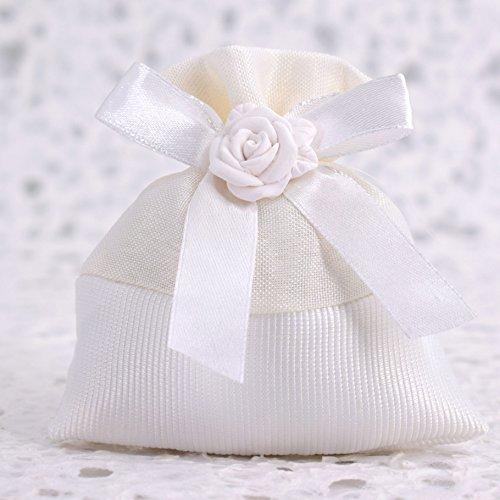 Fai da Te 20 Sacchetti Porta Confetti Bianchi con Rosa in Gesso - per Battesimo - Comunione - Cresima - 18 Anni - Compleanno (Bianco) - Bigliettini Personalizzabili Omaggio