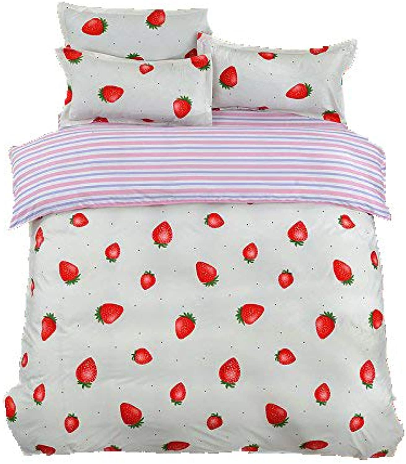 4pcs Kids Beddingset Duvet Cover Set Duvet Cover Bedsheet Pillowcase Twin Full Queen HM Spotted Dog Design (Queen, Strawberry)