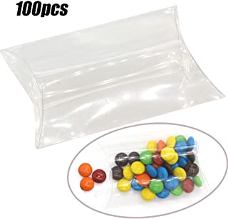MTXtop 100PCS 4.7x3x1inch Clear Plastic Pillow Box Gift Candy Box for Wedding Baby Shower Favour Anti-Scratch Gift Party Favors