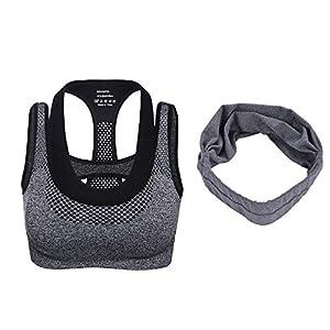 Material: este sujetador deportivo está hecho de nylon 90% y 10% spandex, viene con malla para hacerse transpirable Multi-tamaños: Tamaño de S a L están disponibles, que se adapte a la mayoría de las mujeres de la circunferencia del pecho que van des...