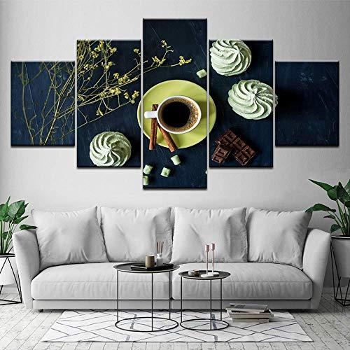 Pinturas Marco Arte Decoración Moderna Sala De Estar Pared 5 Piezas Crema De Café Y Flores Impresiones En HD Cartel Cuadros Modulares Lienzo B167