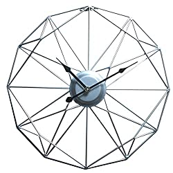 HMANE 20Inch Retro Decor Wall Clock, Metal Numberless Geometric Silent Battery Operated Art Wall Decoration for Home, Living Room, Hotel - Silver