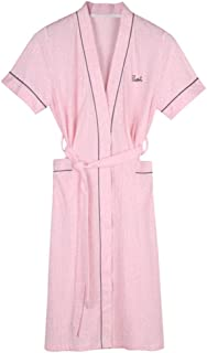 Short-Sleeved Nightgown, Women's Cotton Robe, Summer Comfortable Morning Gown, Casual Home wear, mid-Length lace-up Nightgown, Pocket Design, Soft and Comfortable (Color : Pink, Size : L)