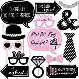Big Dot of Happiness Omg, You're Getting Married - Engagement Photo Booth Props Kit - 20 Count