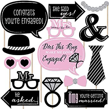 Big Dot of Happiness Omg You re Getting Married - Engagement Photo Booth Props Kit - 20 Count