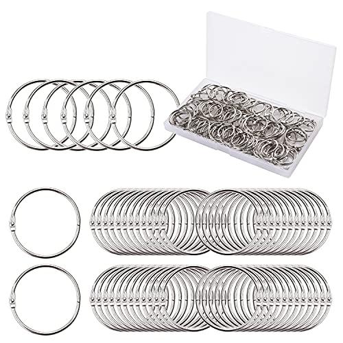 Binder Rings, E-BAYKER 100pcs 1 Inch Loose Leaf Binder Rings, Book Rings, Nickel Plated Steel Metal Key Rings for School,Classroom,Office