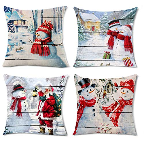 Santa Throw Pillow Covers 18x18 Inch Set of 4 Snowman Home Decor Snowflake Pillows Case for Couch Bedroom Living Room Winter Farmhouse Red Pillowcase for Women Cushions Square Cotton Linen Decorative