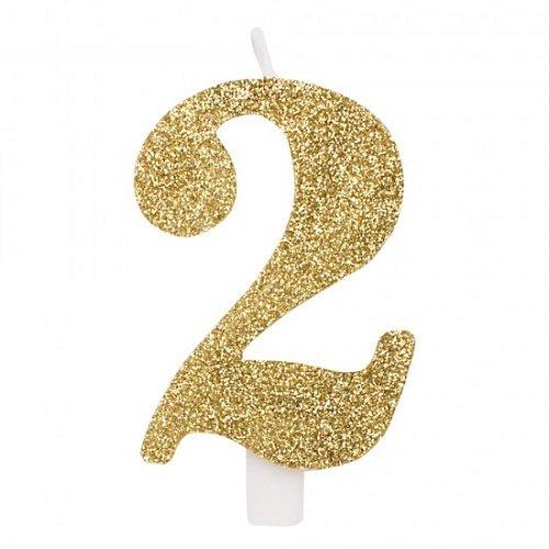 Givi Italia 50832 Numerale Glitter Kaars Aantal 2, Goud, 9,5 cm