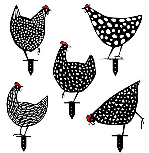 5PCS Rooster Animal Stakes, Chicken Family Garden Silhouette Yard Art, Hollow Out Animal Shape Decor for Outdoor-for Lawns Backyard 5PCS