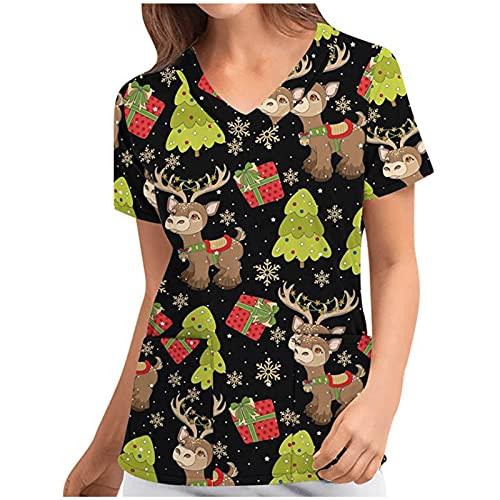 yiouyisheng Damen Pflege Kasack Weihnachten Berufsbekleidung V-Ausschnitt Kurzarm Schlupfkasack Atmungsaktiv Krankenpfleger Pflege mit Bunt Motiv Kasack weichen und angenehm Bluse