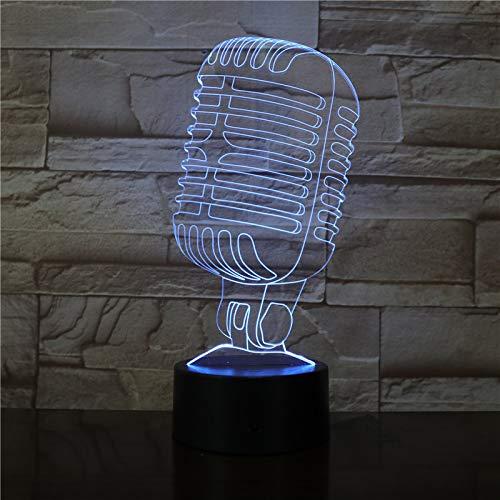 Licht De illusie 3D kerstcadeau verlichte microfoon 16 kleurveranderingen, notenschakelaar 3D-nachtlampje, geschikt voor kinder- en volwassenenslaapkamerdecoratielamp