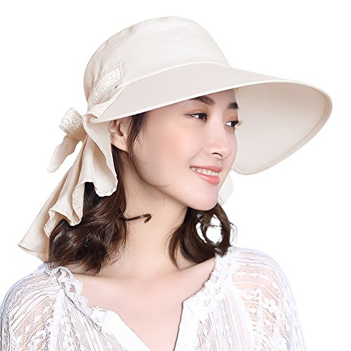 UV Protection Sun Hats for Women Summer Gardening Fishing Hiking Travel Shade Hat Wide Brim Packable Large XL Beige