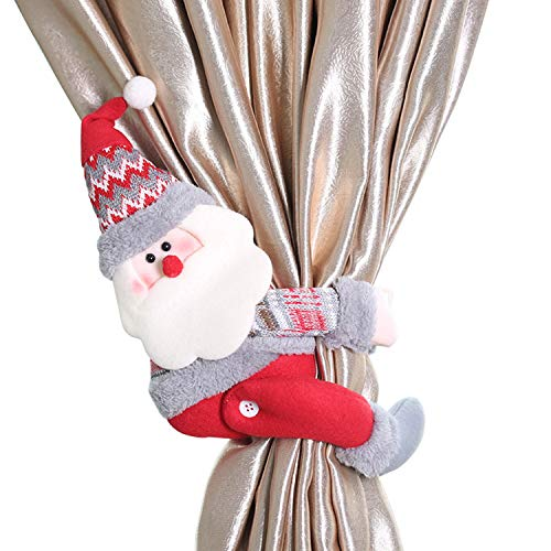 Frestepvie Weihnachten Vorhang Schnalle X-mas Cartoon Puppe Gardine Raffhalter Christmas Doll Curtain Buckle (Weihnachtsmann, mehrfarbig)