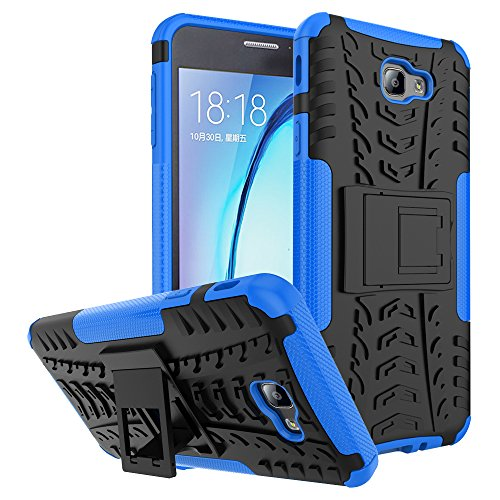 Capa para Galaxy J7 Prime, à prova de choque, capa híbrida para Galaxy On Nxt, capa híbrida resistente à prova de choque, capa rígida com suporte para Samsung Galaxy J7 Prime, Galaxy On Nxt (azul marinho)