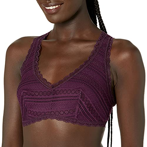 Amazon Brand - Mae Women's Pullover Key Hole Racerback Bralette (for A-C cups), Purple, X-Large