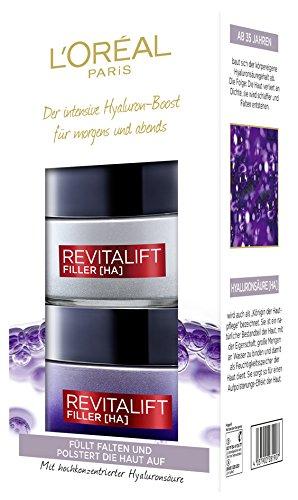 L'Oréal Paris hooggedoseerde hyaluronzuur anti-aging cadeauset, dag en nacht gezichtsverzorging tegen rimpels en Revitalift Filler