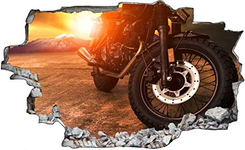 Motorrad Sonnenuntergang Chopper Wandtattoo Wandsticker Wandaufkleber C1827 Größe 70 cm x 110 cm