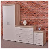 DRP Trading White/Sonoma Oak <span class='highlight'>Bedroom</span> Furniture Set - <span class='highlight'>Wardrobe</span>, 4 4 Drawer Chest & 3 Draw Bedside Table