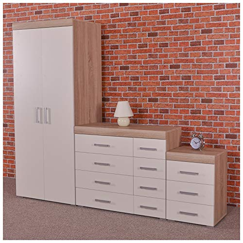 DRP Trading White/Sonoma Oak Bedroom Furniture Set - Wardrobe, 4+4 Drawer Chest & 3 Draw Bedside Table