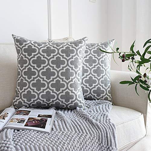 JONJUMP Funda de almohada cojín de sofá 45 x 45 cm de lujo bordado gris manta color sólido decoración nórdico