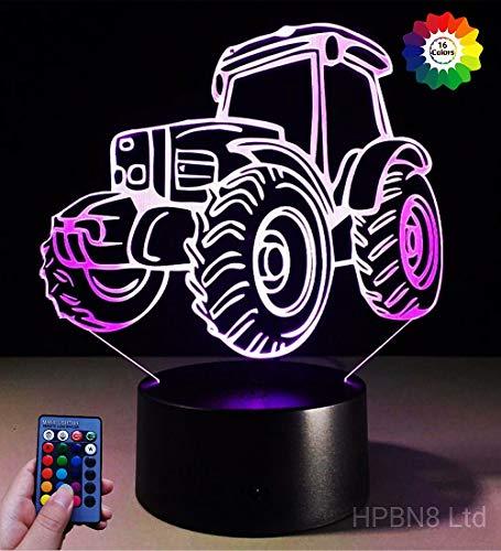 Preisvergleich Produktbild HPBN8 Neue 3D Traktor Lampe 7 / 16 Farbwechsel Fernbedienung Berühren Schreibtisch-Nacht licht mit USB-Kabel Kinder Weihnachten Geburtstagsgeschenke