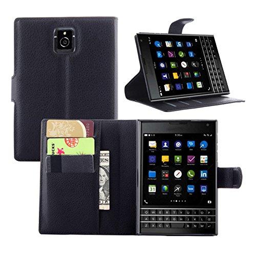 BlackBerry Passport Q30 Handyhülle Book Case BlackBerry Passport Q30 Hülle Klapphülle Tasche im Retro Wallet Design mit Praktischer Aufstellfunktion - Etui Schwarz