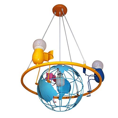 Kinderzimmer Pendelleuchte Modern Puppe Globus Kreative Kinderlampe E27 * 4 Eisen Pendellampe Zeitgenössische Personalisierte Dekorative Hängeleuchte Für Kinderzimmer Mädchen Und Junge Schlafzimmer