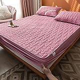 HAIBA Bedding - Cubrecolchón acolchado de microfibra suave, con borde de ajuste, protector de colchón, también para camas con somier, lila, 200 x 200 cm + 40 cm