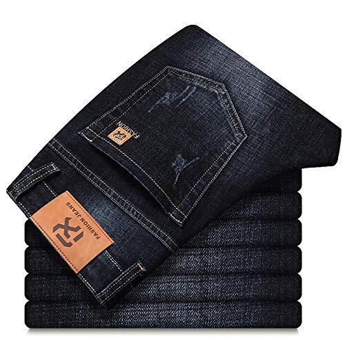 Vaqueros de Moda clásica Otoño Nuevos Hombres Clásico Azul Negro Slim-Fit Jeans Business Algodón Elástico Regular Fit Pa