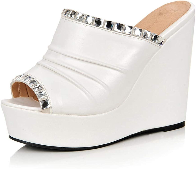 Btrada Women's Rhinestone Decoration High Heel Wedge Summer shoes Women Open Toe Platform Slippers