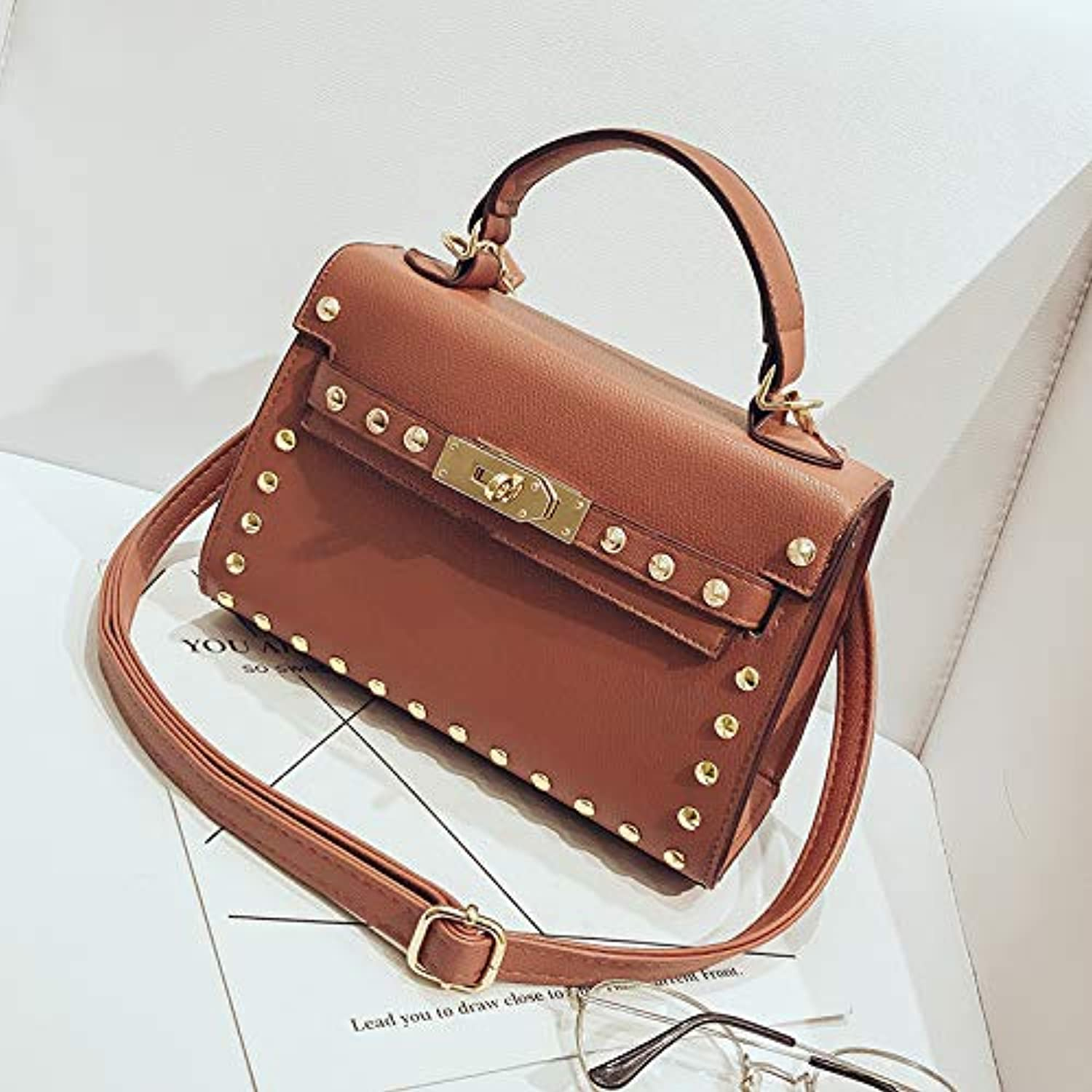 WANGZHAO Women's Bag Skew Bag Handbag, Single Shoulder Bag Rivet Bag, Fashion Simple Trend