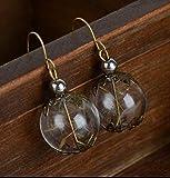 Handmade Pusteblume Ohrhänger bronze Glas-Hohlperle Ohrringe Hänger vintage Perlen handgemacht Schmuckphantasien