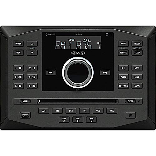 Jensen JWM60A AM FM DVD CD USB AUX App Ready Bluetooth Wallmount Stereo with App Control, Plays: CD, CD-R, CD-RW, DVD, DVD+RW, DVD-RW, MP3, DVD-Video, MPEG-4, VCD, JPEG, CD-DA, MP3, WMA, Dolby