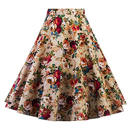 Faldas plisadas para mujer, estilo clásico, años 50, 60, diseño de flores, vestido de baile, cintura alta, Audrey Hepburn Swing Faldas, 1, L