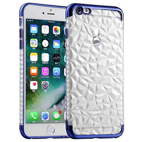JJPRIME - Funda de TPU Transparente con diseño de Diamante de Chrome Electro Plateado Azul Compatible para iPhone 6 / 6S
