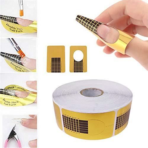 Kavya® 1 Rolle (500 Stück) selbstklebende Square-Gold Modellier-Schablonen Goldschablonen für die künstliche Fingernagel-Modellage von UV Gel …