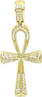 JNS Luxury Diamond Cross Pendant Small Egyptian Ankh Symbol of Life in 14K Gold 0.2ctw
