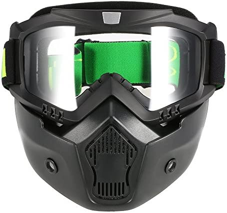 KKmoon Mortorcycle Mask Detachable Goggles and Mouth Filter for Open Face Helmet Motocross Ski product image