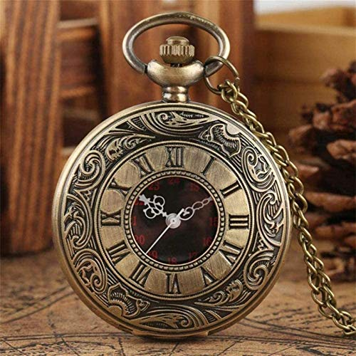 Auoeer Pocket Watch Antique Retro Roman Numerals Display Quartz Pocket Watch Necklace Pendant Clock Bronze Chain Gifts For Christmas Birthday Day