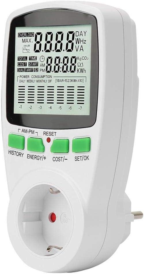 0.000KWh-9999 KWh mini presa per misuratore di potenza intelligente 0-16A Contatore di energia 220v monitor multifunzione per elettricit/à per rilevare consumo di energia con ampio schermo