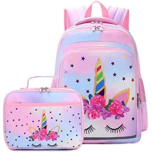 CAMTOP Backpack for Kids Girls School Backpack with Lunch Box Preschool Kindergarten BookBag Set (Y0058-2 Rainbow-1)