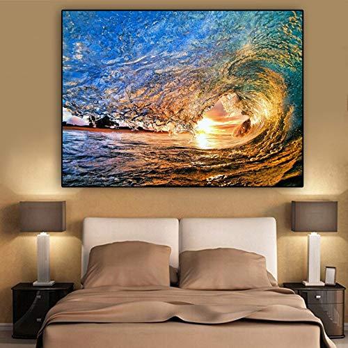 ganlanshu Pittura Senza Cornice Oceano Sole Onda Pittura Poster Arte Soggiorno Moderna Parete Foto Decorazione della casaZGQ4816 50X75cm