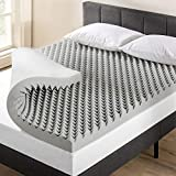 Best Price Mattress 4 Inch Egg Crate Memory Foam Topper with Bamboo Charcoal Infusion, Odor and Moisture Control, CertiPUR-US Certified, Short Queen